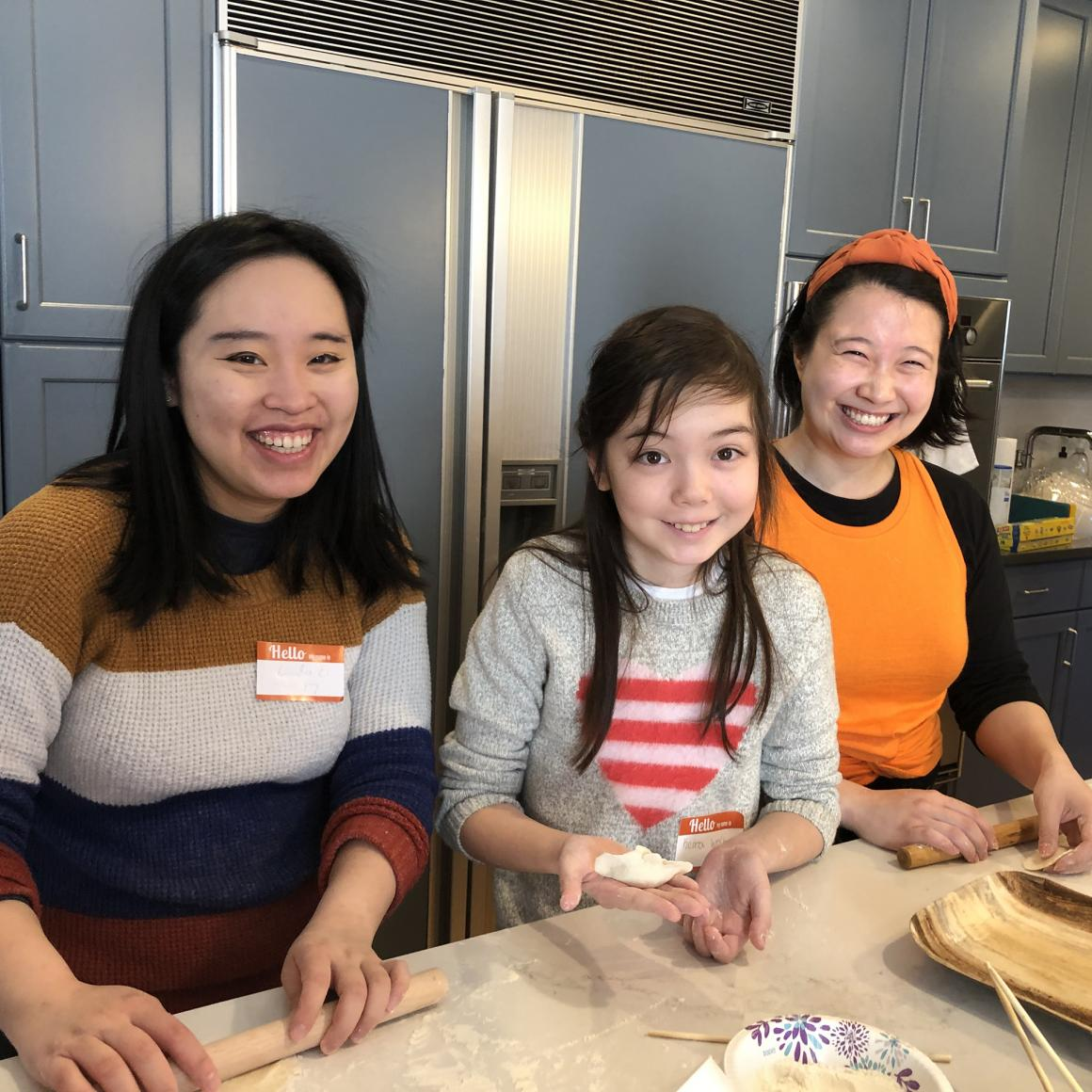Princeton alumni making dumplings