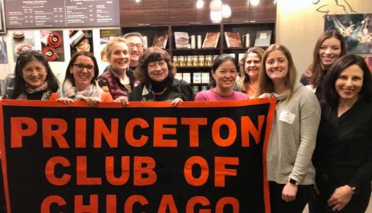 "Chicago Regional Club group photo with ""Princeton Club of Chicago"" sign."