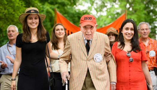 Joe Schein '37, the oldest living alumnus, at the P-rade.